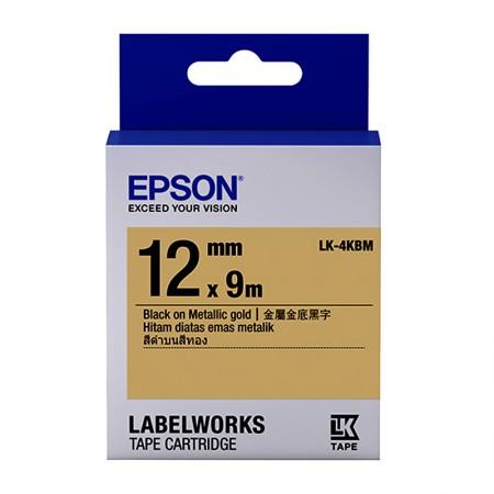 เทปเครื่องพิมพ์ฉลาก Epson LK-4KBM 12 mm อักษรดำบนพื้นทอง (9m)